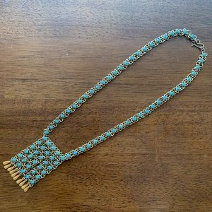 Jewelry - Tasseled Brass and Turquoise Necklace